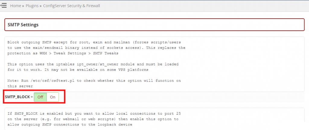 كيفية اعداد CSF للسماح SMTP الصادرة؟