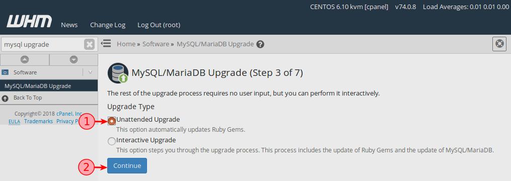 ترقية MySQL إلى MariaDB على خادم cPanel/whm