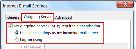 قم بإختيار My outgoing mail sever (SMTP) requires authentication