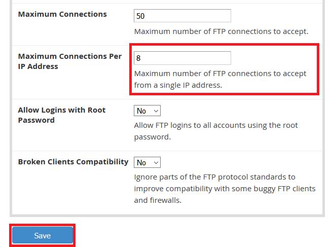 تم ضبط الحد الأقصى للاتصالات لكل IP على 8