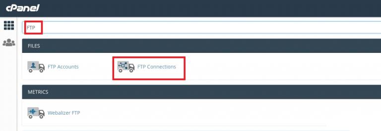 ابحث عن FTP في شريط البحث