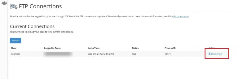 يمكنك أن ترى اتصالات بروتوكول نقل الملفات الحالية