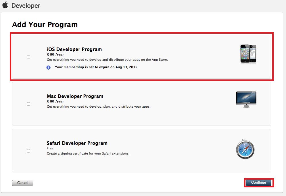 بوضع علامة ( صح ) امام برنامج مطورين أبل ستور