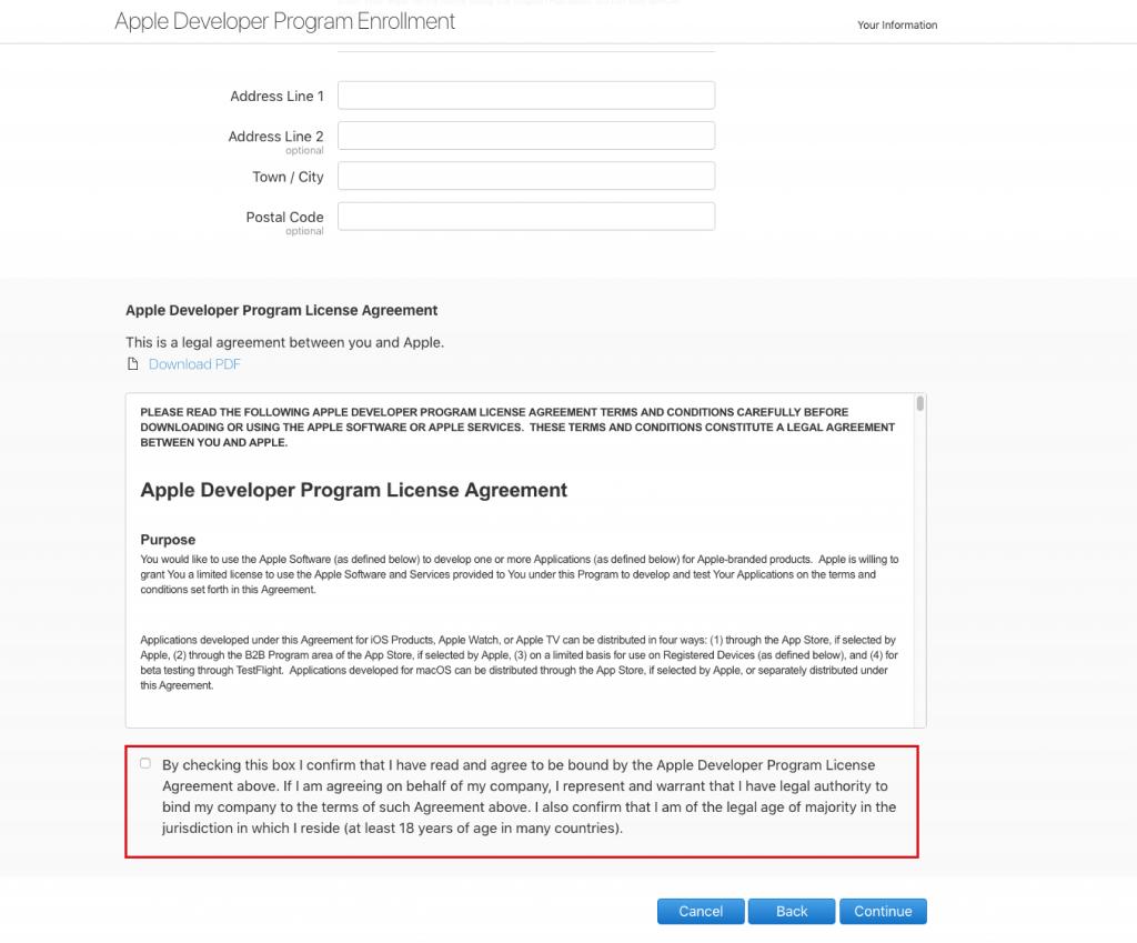اتفاقية ترخيص برنامج Apple Developer