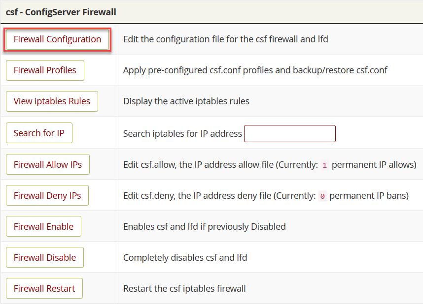 """انقر على الخيار """"Firewall Configuration"""""""