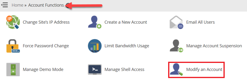 "انتقل إلى ""Modify an Account"" اسفل ""Account Functions"""