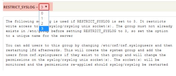نبحث عن RESTRICT_SYSLOG ونحدد القيمه علي 3