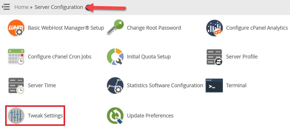 "نقوم الانتقال إلى ""Tweak Settings"" ضمن قسم ""Server Configuration"""