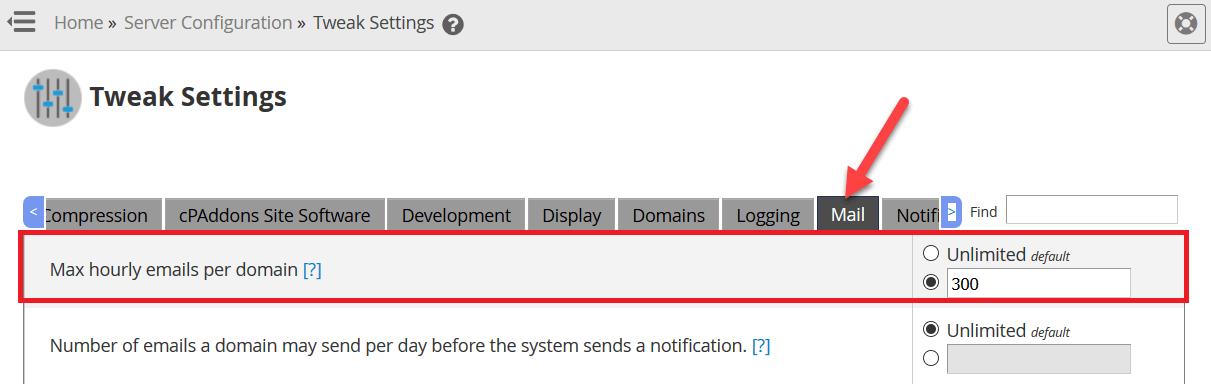 """تعيين القيمة المطلوبة في مربع النص بجانب """"max hourly emails per domain"""""""