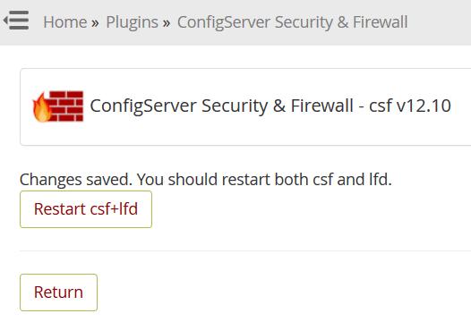 """نقوم بالضغط علي """"restart csf+ifd"""""""