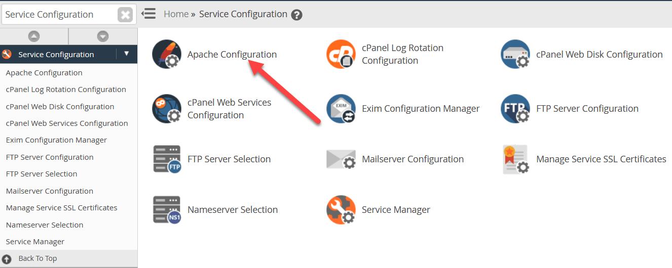 في القائمة الجديدة ، انقر فوق Apache Configuration