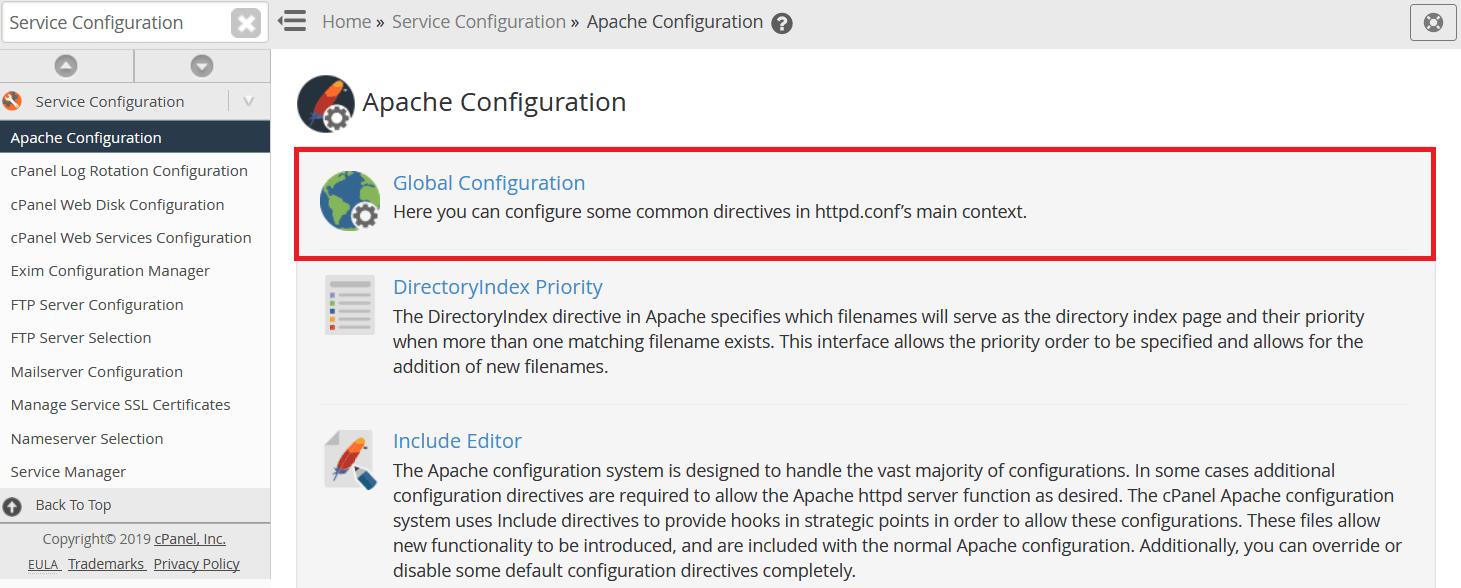 في تكوين Apache Configuration حدد Global Configuration.